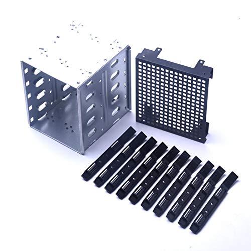 GeKLok Acero inoxidable 304 5.25 pulgadas a 5.35 pulgadas jaula de disco duro, rack SAS para computadora SATA disco duro, soporte de montaje de disco duro con ventilador instalar espacio ranura