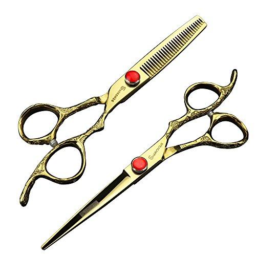 Doré Ciseaux de coiffeur 5,5 pouces 6 pouces et 7 pouces Ensemble de ciseaux de coiffure