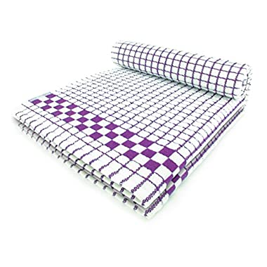 Fecido Classic Kitchen Dish Towels with Hanging Loop - Heavy Duty Absorbent Dish Clothes - European Made 100% Cotton Tea Towels - Set of Two, Purple