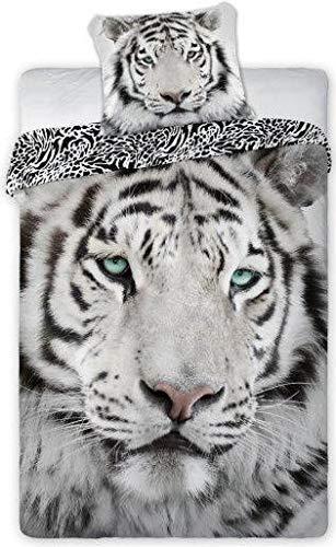 Unbekannt Faro - Weiße Tiger Albino Bettbezug 140 x 200cm Einzelbett 100% Baumwolle Bettwäsche Natur White Tiger Wild
