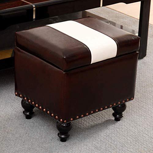 MUZIDP Tabouret ottoman en simili cuir - Pouf de rangement - Banc de rangement - Coffre à jouets avec charnière - Coffre de rangement - Repose-pieds - Couleur : 40 x 34 x 40 cm - Taille : J