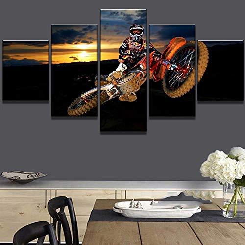 TAIQUANDAO 5 Teilig Leinwandbilder Motocross-Auto Wandbild Druckdekor, Rahmen Fertig Zum Aufhängen, Hause Moderne Dekoration,Wohnung, Wohnzimmer, Flur, Wanddekoration-150 x 80 cm