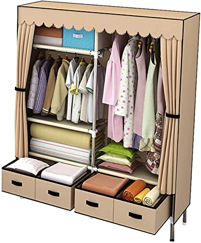 TIANYOU Armario de Esquina, Tela Portátil Armario Sólido Color Sólido Armario Abierto con Cajón Diseño Closet,168 * 140 * 45Cm