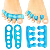 ViveSole Toe Stretchers (4 Pieces) - Silicone Gel Separators - Therapeutic Spa Spreaders for Plantar Fasciitis, Bunions, Overlapping Hammer Toe Spacers - Metatarsal Yoga Cushion (Blue, Medium)