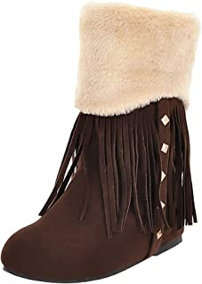 Kauneus➡ Snow Boots for Women Round Toe Comfy Warm Fur Lined Studded Tassel Winter Ankle Boot Fashion Boot