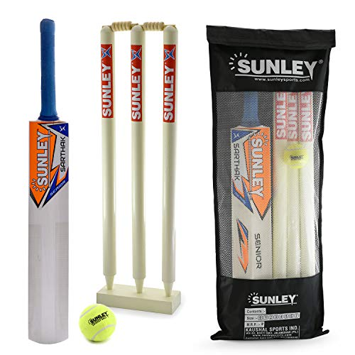 Sunley Sarthak Junior Combo Size 3 for Age Group 8 Years Wooden Cricket kit