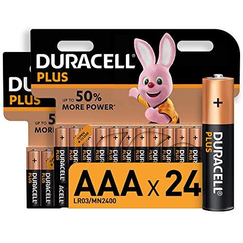 Duracell - Plus AAA, Batterie Ministilo Alcaline, Confezione da 24 Pacco del Produttore, 1.5 Volt LR03 MN2400, 24 Batterie