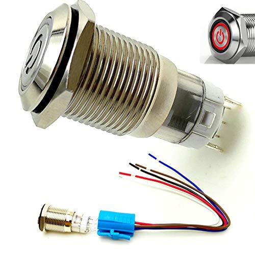 YIYIDA Interruptor de botón encendido de bocina de automóvil pulsador momentáneo 12V LED interruptor de enclavamiento de cierre automático 16mm de encendido ON/ OFF de presión de auto Interruptor de