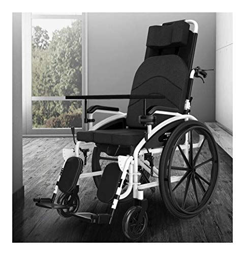 silla de ruedas Silla de ruedas 24 kg de control de transporte plegada patas de la silla de ruedas reclinable elevable, reclinables 150 kg, un escritorio extraíble y lavabo
