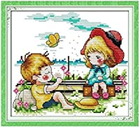 クロスステッチ大人、初心者11ctプレプリントパターン男の子と女の子は40x50cm が大好きです -DIYスタンプ済み刺繍ツールキットホームの装飾手芸い贈り物40x50cm(フレームがない )