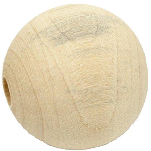 Sadingo drewniane koraliki naturalne, 50 sztuk, średnica 2,5 cm, bombki drewniane do samodzielnego wykonania, z dużym otworem do majsterkowania i malowania