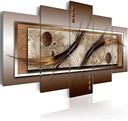 Canvas Prints Wall Art Delicate Shapes and Warm Colors Abstract 5 panels Painting Contemporary product image