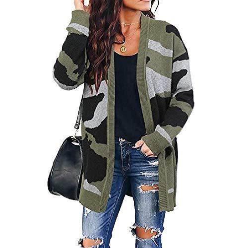 U/A Sweater Damen Strickjacke Camouflage mittellang Gr. XL, grün