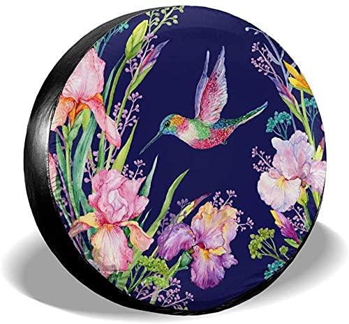 Iris Flower - Cubierta de neumático de repuesto,poliéster,universal,de 15 pulgadas,para rueda de repuesto,para remolques,vehículos recreativos,SUV,ruedas de camiones,camiones,caravanas,accesorios par