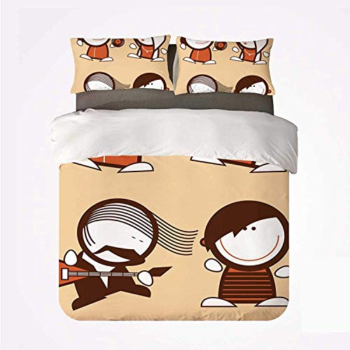 Duvet Cover Set Funny Practical 3 Bedding Set,Musician People Icons with Guitar Headphones Hip Hop Boy DJ Emo Song Star Print Decorative for Dormify