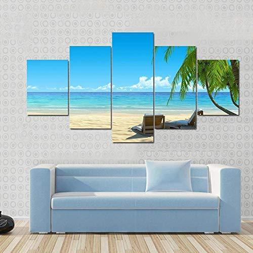 QWASD Chairs On Idyllic Tropical White Sand Beach Bilder Abstrakt 5 Teilig Wandbild XXL 150×80Cm Leinwand Bild Wandbilder Wohnzimmer Wohnung Kunstdrucke Modern Wandbilder Design Abstrakt Poster