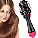 Prakal 3 in 1 Upgrade Feature Anti-scald Negative Ion One-Step Hot Air Hair Straightener Dryer Brush and Volumizer with Smooth Frizz and Ionic Technology (Black and Pink)