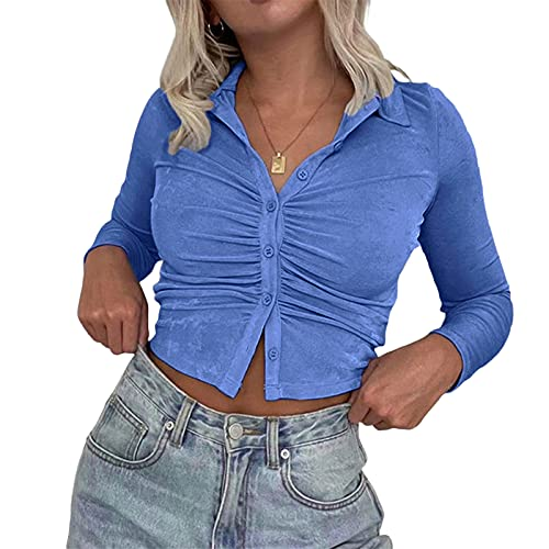 여성 Y2K 롱 슬리브 크롭 탑 버튼 다운 폴로 칼라 글리터 솔리드 컬러 T-SHIRT 티 셔츠 탑 패션 스트리트웨어 의류