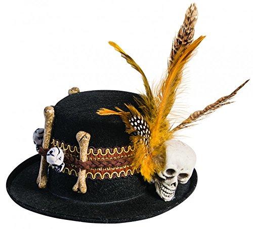 shoperama Voodoo Mini-Hütchen mit Totenkopf und Knochen Schwarz/Braun Hut Halloween Kostüm-Zubehör