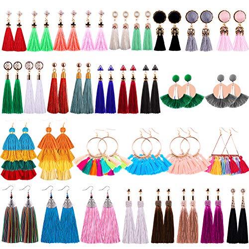 Duufin 32 Pairs Tassel Earrings Fringe Earrings Multicolor Dangle Earring Bohemian Tiered Earrings for Women and Girls