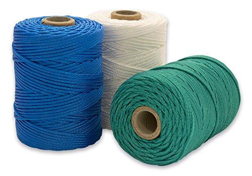 Cordamanía CMJP00PWZZ Unidades de Hilo de replanteo, Blanco, Verde, Azul, 100 m, Set de 3 Piezas