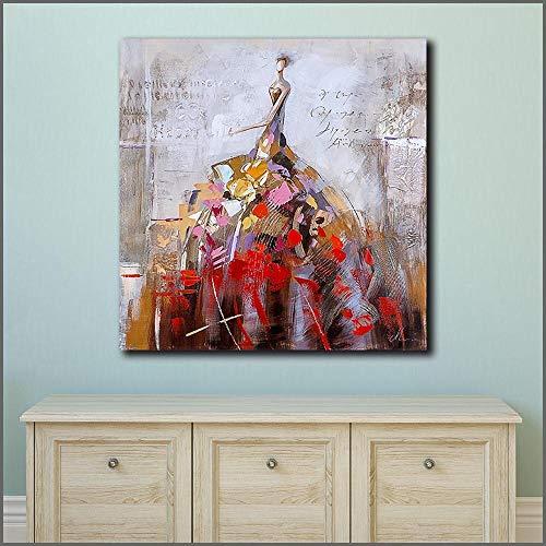 Modedruck Leben modernen Tanz Ölgemälde Wandkunst Poster auf Leinwand Wohnzimmer Wandbild rahmenlose Malerei 70X70CM