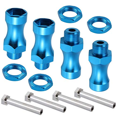 12mm to 17mm Aluminum Hex Wheel Hubs Adapter Extensions (30mm) for Upgrade 1/10 to 1/8 RC Vehicle Tires (Blue, Set of 4)