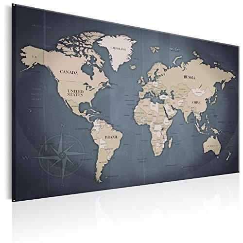 murando Weltkarte Pinnwand & Vlies Leinwand Bild 120x80 cm XXL Bilder mit Kork Rückwand 1 Teilig Kunstdruck Korktafel Korkwand Memoboard Pinboard Wandbilder Karte Landkarte k-A-0056-p-d