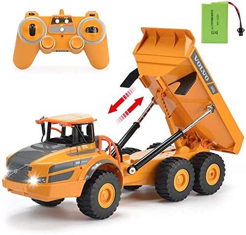 1/20 Control Remoto Construcción Vehículo 2.4G Recargable RC Car 8-Canal Configuración Completa RC Dump Truck de Cuatro Ruedas Drive de Cuatro Ruedas RC Truck Niños S Toy Regalo Excellent
