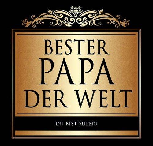 Udo Schmidt Aufkleber Flaschenetikett Etikett Bester Papa der Welt schwarz gold elegant