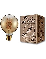 Bombilla de filamento LED greenandco® Vintage E27 G95 5W (corresponde a 25W) 250lm 2000K (blanco cálido) 360° 230V vidrio, sin parpadeo, no regulable