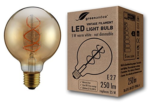 greenandco® Ampoule à Filament LED Vintage E27 G95 5W (équivalent 25W) 250lm 2000K (blanc chaud) 360° 230V Verre, aucun scintillement, non-gradable