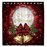 Allenjoy 72x72 Inch Merry Christmas Shower Curtain for Bathroom Set Winter Red Glitter Home Bath Bathtub Decor Decoration Customizable Durable Waterproof Fabric Machine Washable Curtains with 12 Hooks