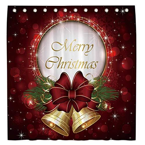 Allenjoy 183 x 183 cm Frohe Weihnachten Duschvorhang für Badezimmer Set Winter Rot Glitzer Home Badewanne Dekor Dekoration Anpassbar Langlebig Wasserdicht Stoff Maschine Waschbar Gardinen mit 12 Haken