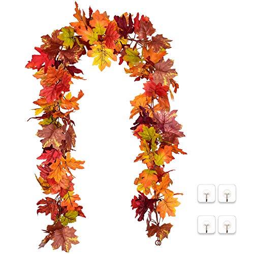 YQing 2 Stück Künstliche Ahornblatt Girlande, unechte Herbstlaub Blätter Künstliche Herbstblätter für drinnen und draußen Hochzeit Erntedankfest Abendessen Party Kamin Dekoration