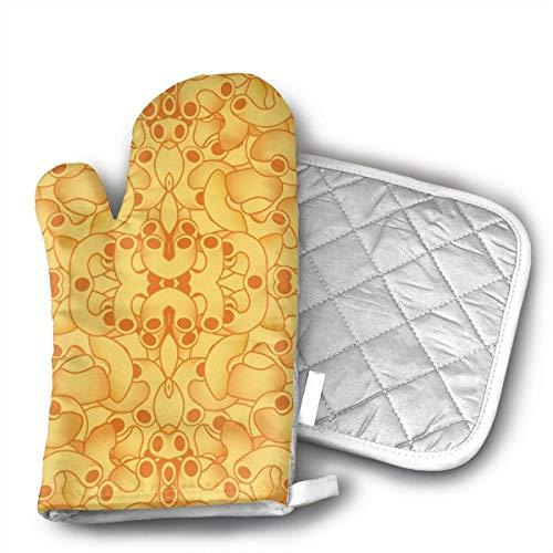 Manoplas y porta ollas para horno de macarrones y queso, juegos de manoplas para horno de cocina con estampado divertido para padres de familia, abuelos