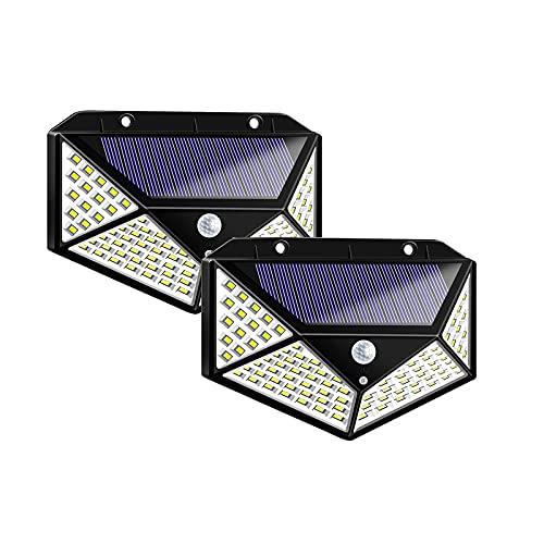 Solarlampen 2StückSolarlampen Für Außen Mit Bewegungsmelder 1500 Lumen,180LED Umweltschutz Solar Aussenleuchte Led Solarleuchten Für Außen Solar Wasserdichte Wandleuchte Solar Bewegungsm(Size:100 LED)