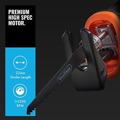 "VonHaus Cordless Reciprocating Saw with 3.0Ah Li-ion 20V MAX Battery, Charger, 2 x Wood Blades & Power Tool Bag - Includes Tool-Less Blade Change (22mm / 1"" Stroke Length)"