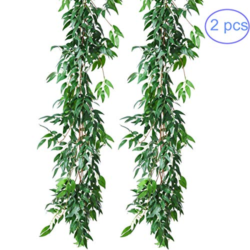 NANSSY 2 Pack Artificial Greenery Garland Faux Silk Willow Leaves Vines Wreath for Wedding Party Home Decor (Willow Leaves)