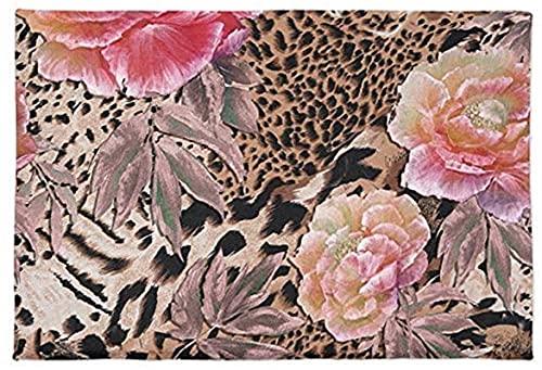 Zerbino con stampa leopardata, antiscivolo, morbido tappetino da bagno in microfibra rosa, motivo floreale animale di lusso, confortevole tappeto per bagno doccia (45 x 80 cm)