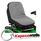 North East Harbor Universal Lawn Mower Tractor Seat Cover Grey Padded Comfort Pad Storage Pouch + KapscoMoto Keychain