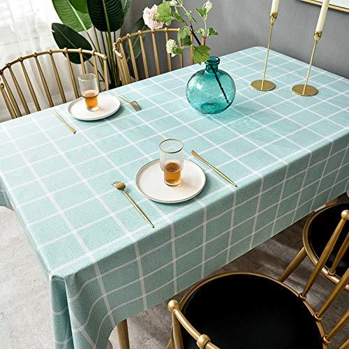 Ahuike Mantel para de Cocina Salón Rectangular Cloruro de Polivinilo Impermeable Lavable Diseño de Comedor decoración del Hogar Rejilla Verde 140 × 220cm