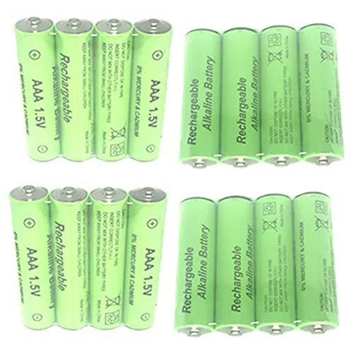 CUHAWUDBA 8 Piezas 1.5V AA 3000Mah BateríA Alcalina Recargable + 8 Piezas 1.5V AAA 2100Mah BateríA Alcalina para Juguete De Luz Led Mp3