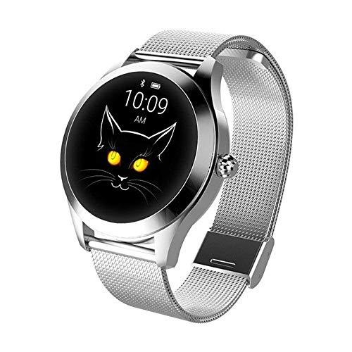 LUNIQUESHOP ROUND Smartwatch, Montre Intelligente Homme Femme avec Fréquence Cardiaque, Bracelet connecté, Podometre, Tactile, écran Oled, suivi de Performance, Etanche, Android, iOS, Argent