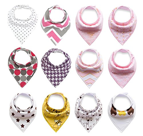Baby Bandana Drool Bibs for Boys & Girls Unisex 12 Pack Absorbent Cotton Modern Baby Set