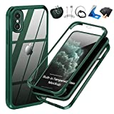 UBUNU iPhone Xs Max Case with Built-in Tempered Glass Screen Protector, 360 Full Body Dual Layer Heavy Duty Rugged Silicone Rubber Bumper Protective Clear iPhone X Max/Xs Max Cases 6.5 inch - Green