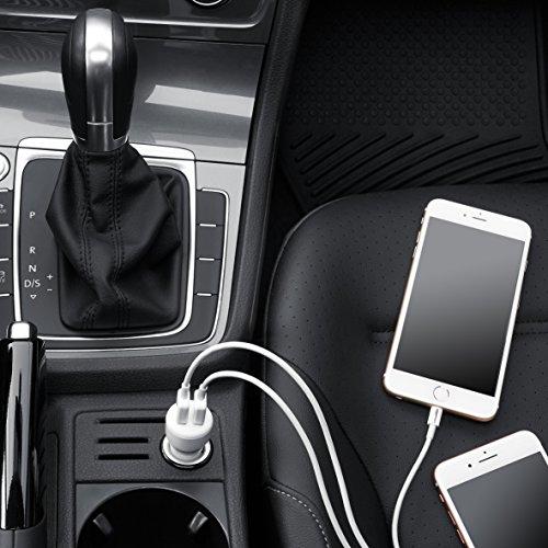 AmazonベーシックデュアルシガーソケットカーチャージャーUSB車用充電器ー4.8アンペア24WApple、Androidデバイス用ブラック/レッド4個パック