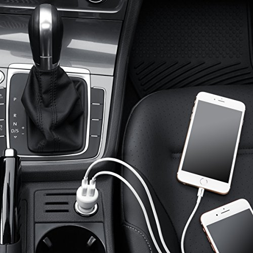 AmazonBasics Dual-Port USB Car Charger Adapter for Apple and Android Devices, 4.8 Amp, 24W, Black