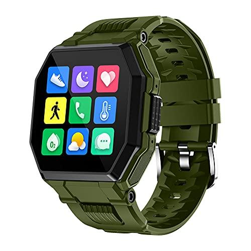 ERGEFSD Smartwatch para Hombre Mujer,con Pulsómetro Control De Música Llamadas Bluetooth Reloj de Fitness IP67 Impermeable,Pantalla Táctil A Color Fitness Tracker Reloj para Android iOS-Verde