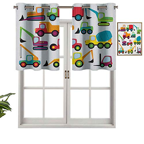 Hiiiman Valance Curtains Grommet Thermal Insulated Cute Style Vehicles and Heavy Equipment Forklift Earthmover Excavator Mixer, Set of 1, 52'x18' for Bedroom Bathroom and Kitchen Blackout Curtains
